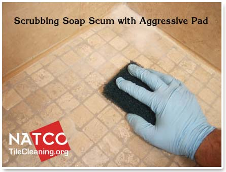 Agressive Scrub Pad For Cleaning Travertine Shower Floor