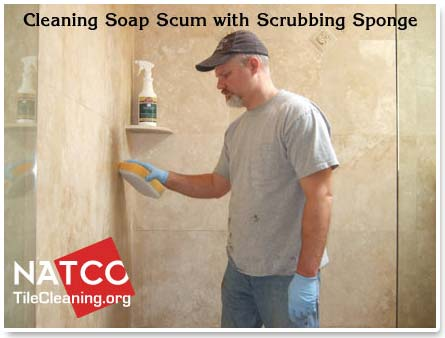 Soft Scrub Pad For Cleaning Travertine Shower Tiles