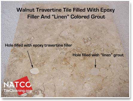 filling walnut colored travertine holes