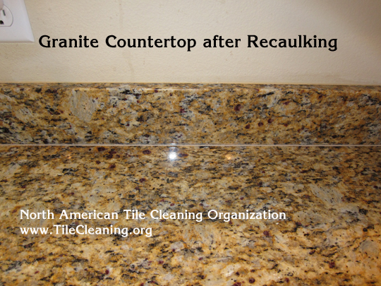 caulk applied to granite countertop