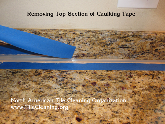 pulling away tape when caulking granite countertop