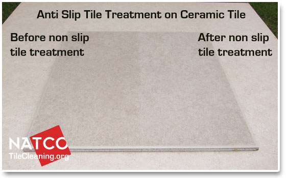 non slip tile treatment on ceramic tiles