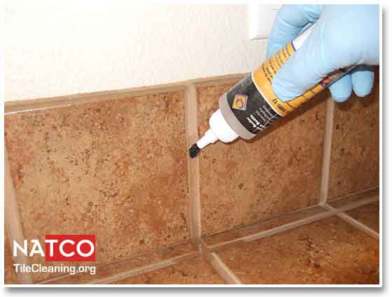 sealing grout on tile backsplash
