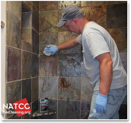 Beau Applying Sealer To Slate Shower Walls