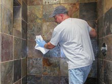 Cleaning And Removing Soap Scum In A Limestone Shower
