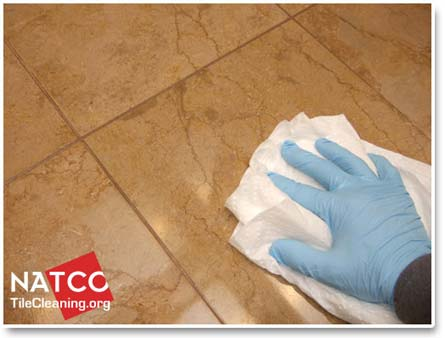 removing sealer haze off travertine tiles