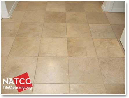 sealed travertine tile floor